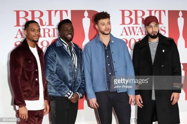 AWARDS 2018*** Jamaal Shurland Ashley Fongo Myles Stephenson and Mustafa Rahimtulla of RakSu attend The BRIT Awards 2018 held at The O2 Arena on...