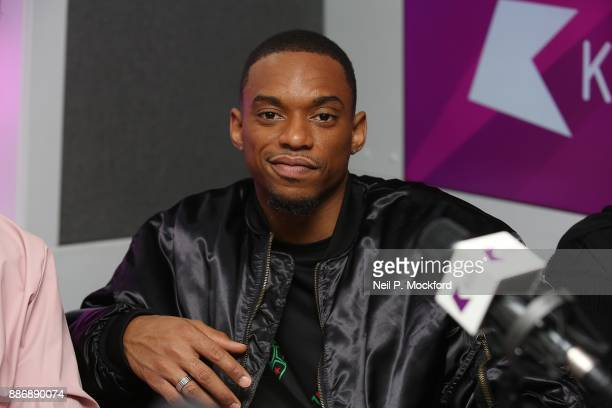 Jamaal Shurland from X Factor winning group RakSu on with Ricky Melvin and Charlie at Kiss FM Studio's on December 6 2017 in London England