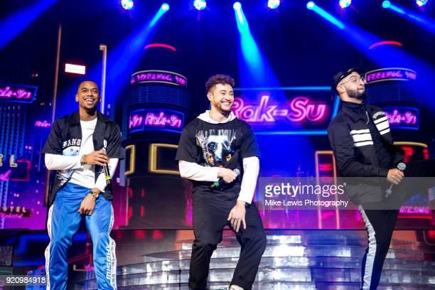 Jamaal Shurland Myles Stephenson and Mustafa Rahimtulla of RakSu perform on the X Factor Live tour on February 19 2018 in Cardiff United Kingdom