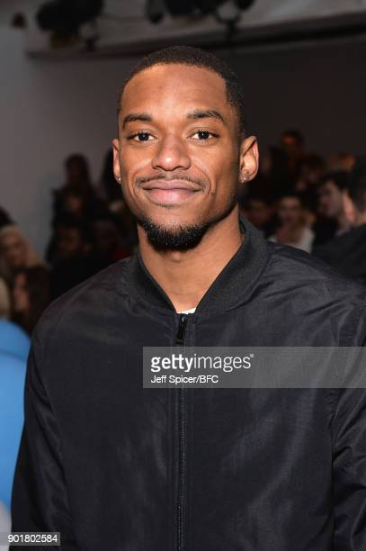 Jamaal Shurland of RakSu attends the What We Wear show during London Fashion Week Men's January 2018 at BFC Show Space on January 6 2018 in London...