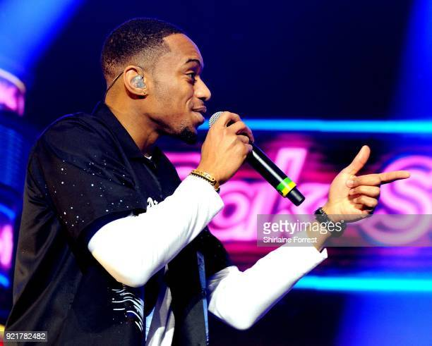 Jamaal Shurland of RakSu performs during The X Factor Live at Manchester Arena on February 20 2018 in Manchester United Kingdom