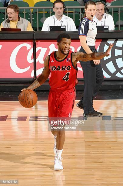 Jamaal Tatum of the Idaho Stampede drives the ball up court during day 2 of the DLeague Showcase against the Fort Wayne Mad Ants at McKay Events...