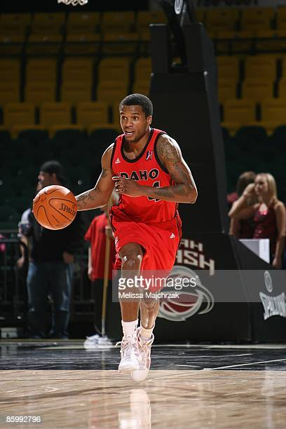 Jamaal Tatum of the Idaho Stampede moves the ball against the Utah Flash during the game at McKay Events Center on March 09 2009 in Orem Utah The...