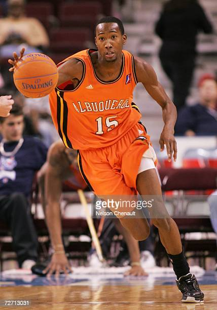 Jamaal Thomas of the Albuquerque Thunderbirds dribbles the ball on a fast break against the Arkansas RimRockers at Alltel Arena on December 3 2006 in...
