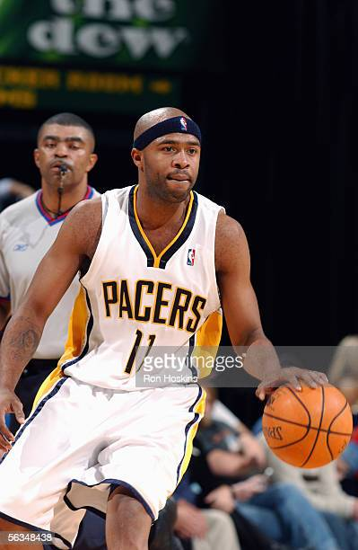 Jamaal Tinsley of the Indiana Pacers moves the ball during the game with the Houston Rockets on November 20, 2005 at Conseco Fieldhouse in...