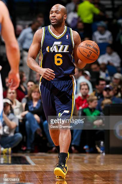 Jamaal Tinsley of the Utah Jazz advances the ball against the Minnesota Timberwolves on April 15 2013 at Target Center in Minneapolis Minnesota NOTE...