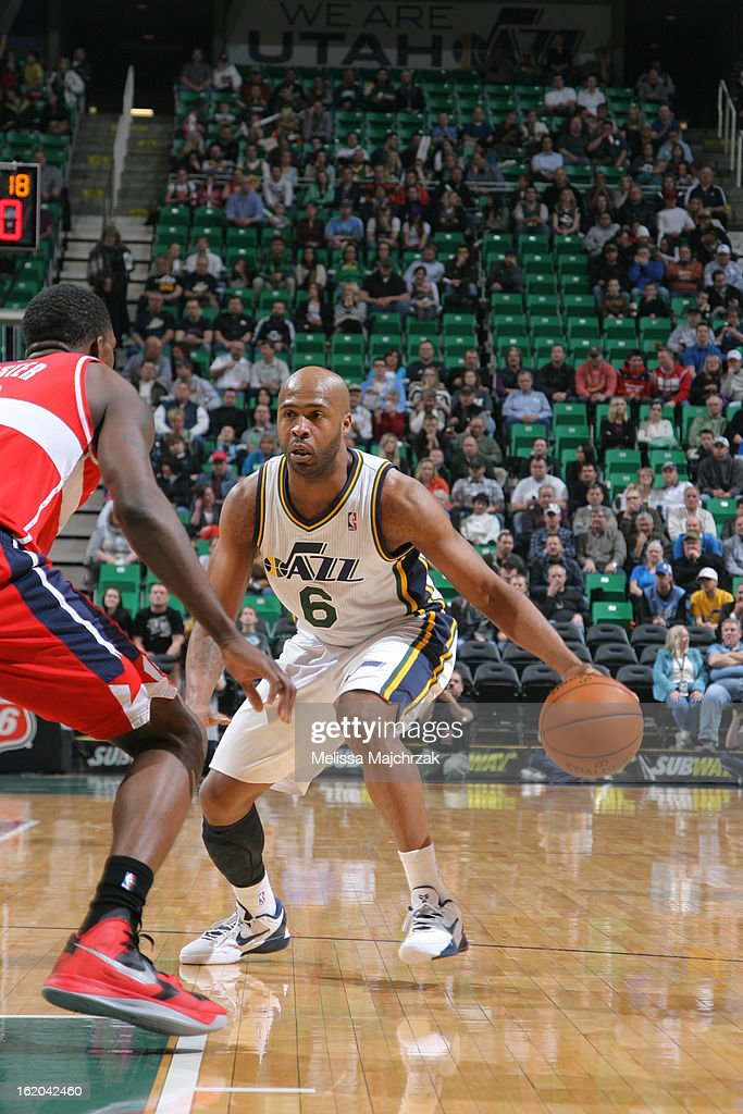 Jamaal Tinsley #6 of the Utah Jazz drives to the basket against the Washington Wizards at Energy Solutions Arena on January 23, 2013 in Salt Lake City, Utah.