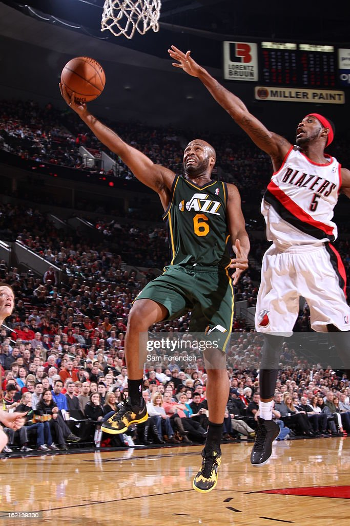 Jamaal Tinsley #6 of the Utah Jazz drives to the basket against the Portland Trail Blazers on February 3, 2013 at the Rose Garden Arena in Portland, Oregon.