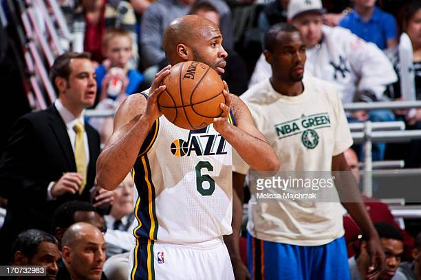 Jamaal Tinsley of the Utah Jazz looks to pass the ball against the Oklahoma City Thunder at Energy Solutions Arena on April 9 2013 in Salt Lake City...