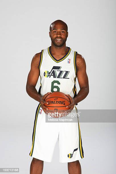 Jamaal Tinsley of the Utah Jazz poses for a portrait during Media Day at Zions Basketball Center on October 01 2012 in Salt Lake City Utah NOTE TO...