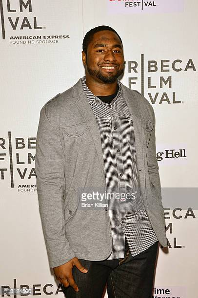 """Jamaal Westerman of the New York Jets attends the Tribeca/ESPN Sports Film Festival Gala - """"Catching Hell"""" during the 10th annual Tribeca Film..."""