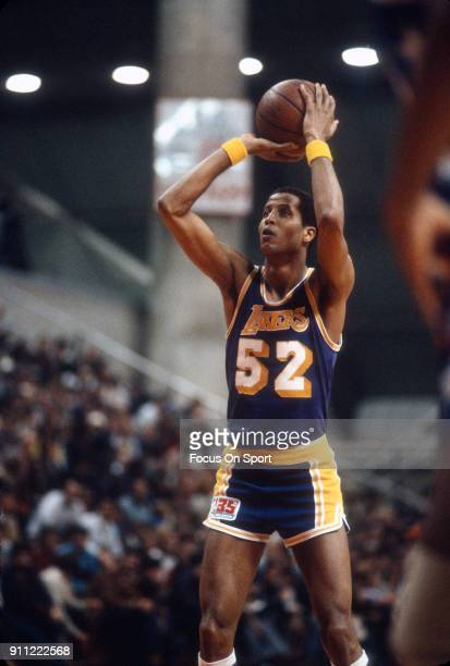 46564af1b38 Jamaal Wilkes of the Los Angeles Lakers shoots a free throw against the New  Jersey Nets