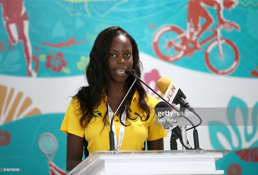 Jamacian beach volleyball athlete Lisanne Roofe speaks to the media during the 2017 Commonwealth Youth Games Opening Press Conference held at the Thomas A Robinson Stadium on July 17, 2017 in Nassau, Bahamas.