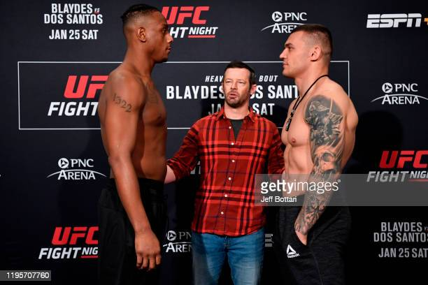 Jamahal Hill and Darko Stosic of Serbia face off during the UFC Fight Night weighins at the Embassy Suites Raleigh Crabtree on January 24 2020 in...