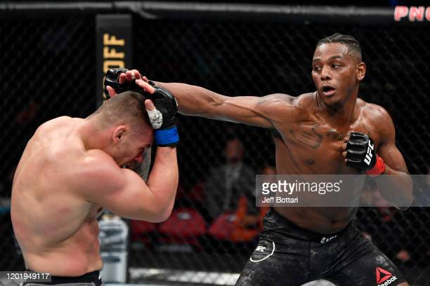 Jamahal Hill punches Darko Stosic of Serbia in their light heavyweight bout during the UFC Fight Night event at PNC Arena on January 25 2020 in...