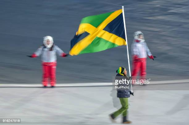 Jamaica at opening ceremony at 2018 Pyeongchang winter olympics at Pyeongchang olympic stadium Pyeongchang South Korea February 09 2018