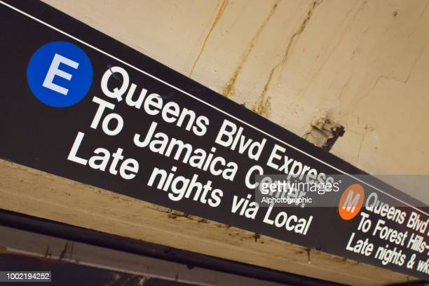 jamaica center subway sign - underground sign stock pictures, royalty-free photos & images