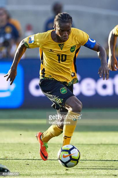 Jamaica forward Darren Mattocks dribbles the ball during the CONCACAF Gold Cup Final match between the United States v Jamaica at Levi's Stadium on...