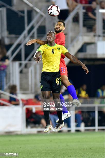 Jamaica forward Dever Orgill and United States defender Cameron Carter Vickers go up for a header during the United States Mens National Team...