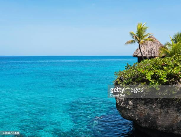 Jamaica, Negril, Traditional huts on rocky coastline