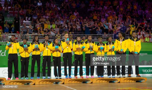 Jamaica netball team celebrate their Bronze Medal at Coomera Indoor Sports Center at the 2018 Gold Coast Commonwealth Games