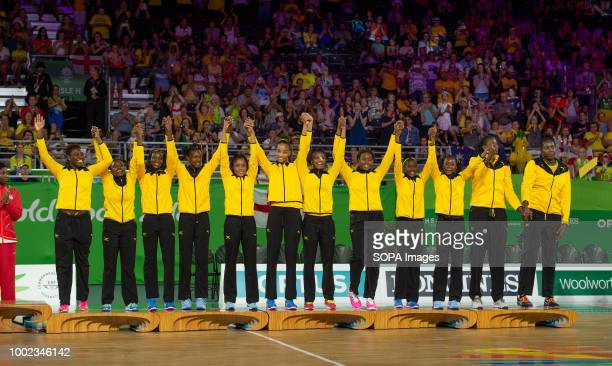 Jamaica netball team celebrate there Bronze Medal at Coomera Indoor Sports Center at the 2018 Gold Coast Commonwealth Games