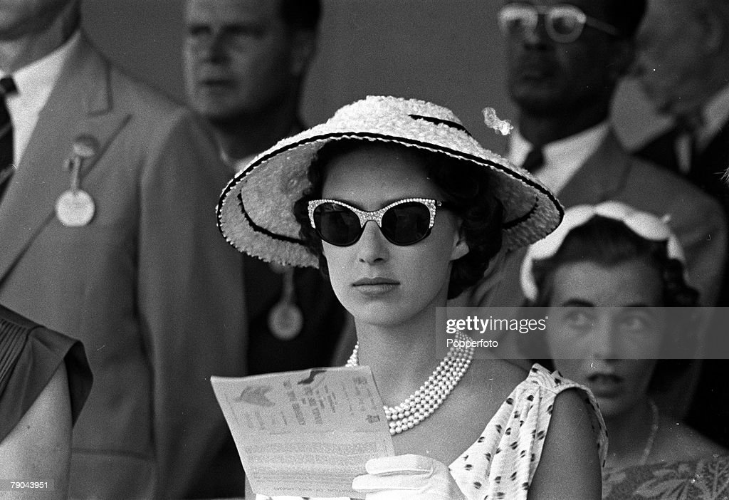 Jamaica. 1955. Princess Margaret is pictured at the races at Kingston during the Royal Tour of the Caribbean. : News Photo