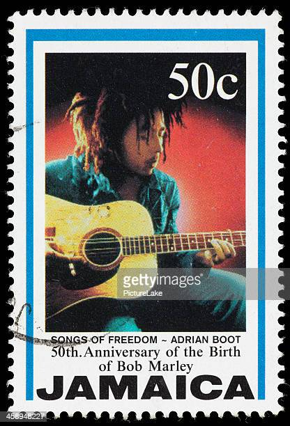 jamaica songs of freedom bob marley postage stamp - bob marley stock photos and pictures