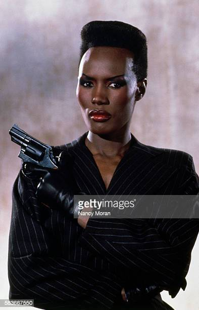 Jamaican actress Grace Jones on the set of the James Bond 007 film A View to a Kill directed by John Glen