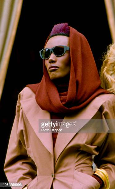 Jamaican actress, model, and singer Grace Jones at the 'View To A Kill' press photo call, 6/13/1985.