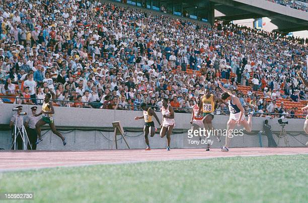 Jamaican athlete Don Quarrie wins the 100 Metres final at the Commonwealth Games in Edmonton Canada August 1978 Allan Wells of Scotland comes in...