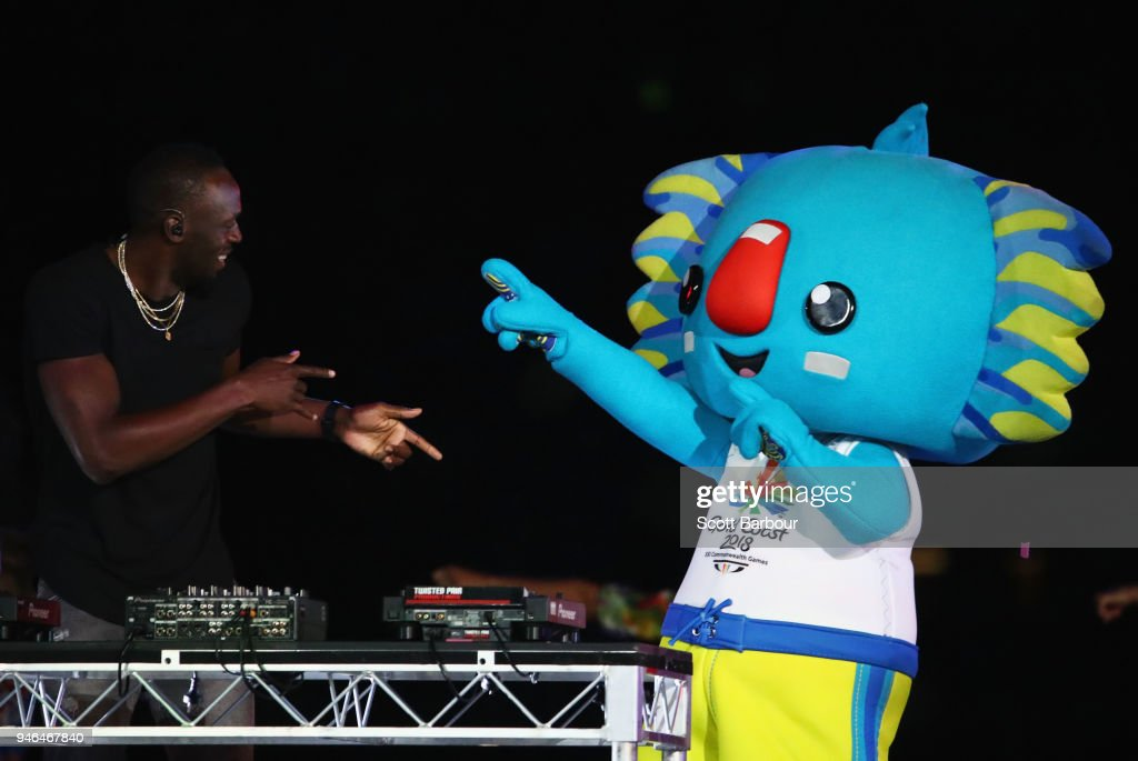 Jamaican athlete, Usain Bolt and commonwealth games mascot, Borobi during the Closing Ceremony for the Gold Coast 2018 Commonwealth Games at Carrara Stadium on April 15, 2018 on the Gold Coast, Australia.