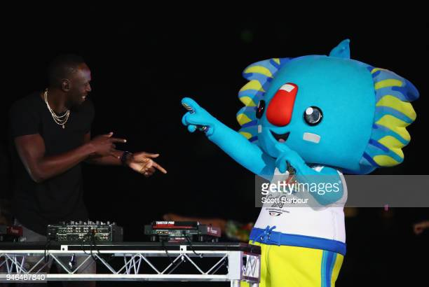 Jamaican athlete Usain Bolt and commonwealth games mascot Borobi during the Closing Ceremony for the Gold Coast 2018 Commonwealth Games at Carrara...