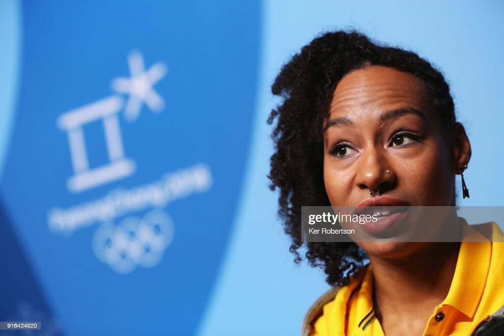 Jamaican bobsleigher Jazmine Fenlator-Victorian attends a press conference at the Main Press Centre the PyeongChang 2018 Winter Olympic Games on February 10, 2018 in Pyeongchang-gun, South Korea.