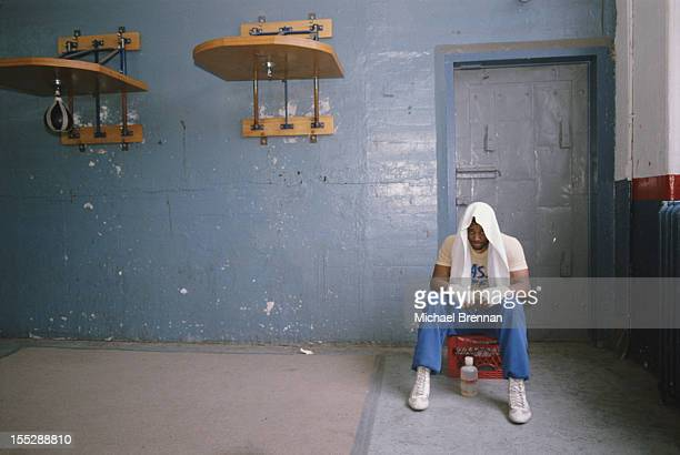 Jamaican boxer Alex Stewart takes a rest during training at Gleason's Gym Brooklyn New York City 1987