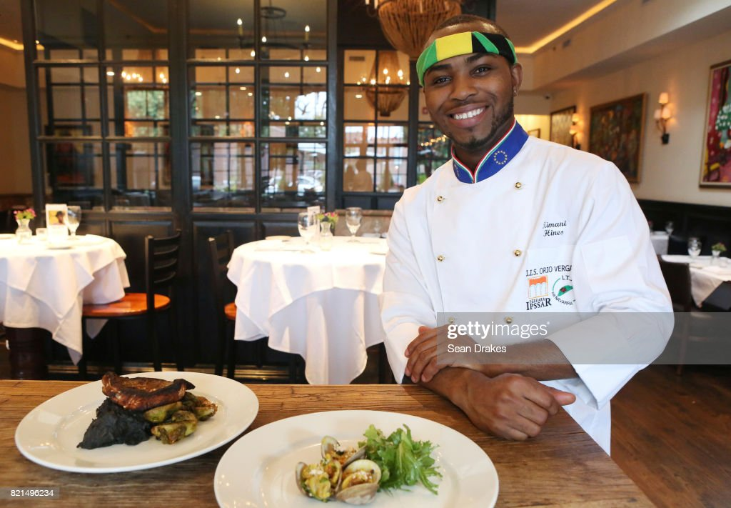 Jamaican chef Kimani Hines, participant of TV cooking reality show Chopped of Food Network, poses at Alvin & Friends Restaurant in New Rochelle on Sunday, July 23, 2017 in New York, USA.