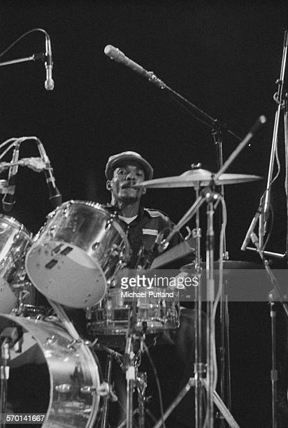 Jamaican drummer Carlton Barrett performing with reggae group Bob Marley And The Wailers at the Hammersmith Odeon during the Rastaman Vibration Tour...