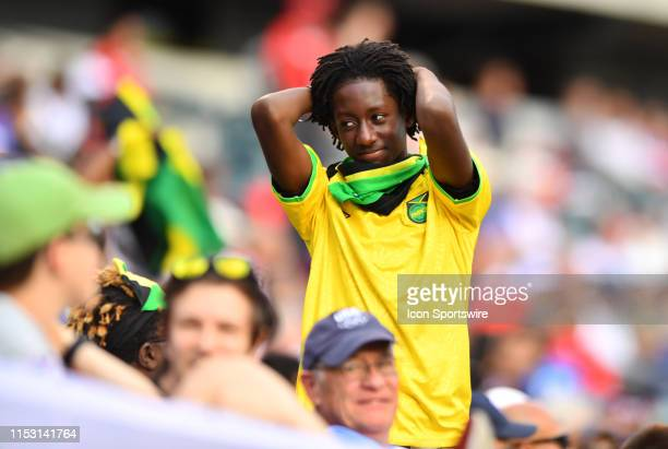 Jamaican fan reacts to a missed scoring chance in the second half during the Gold Cup Quarterfinal game between Jamaica and Panama on June 30, 2019...