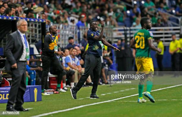 Jamaican head coach Theodore Whitmore reacts during game against El Salvador during the 2017 CONCACAF Gold Cup at Alamodome on July 16 2017 in San...