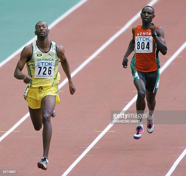 Jamaican Michael Blackwood wins heat one of the men's 400m race, ahead of Kenya's Victor Kibet at the 9th IAAF World Athletics Championships, 23...