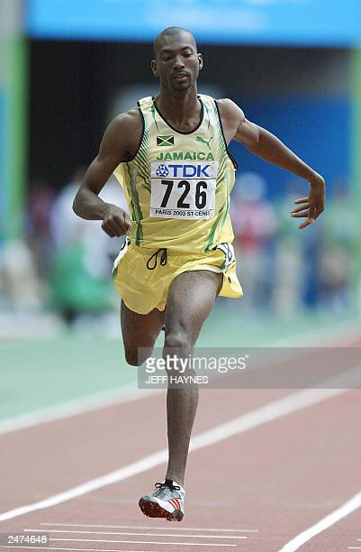 Jamaican Michael Blackwood wins heat one of the men's 400m race at the 9th IAAF World Athletics Championships, 23 August 2003, at the Stade de France...