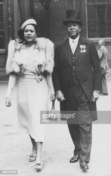 Jamaican Minister of Finance Sir Harold Allan and his wife leaving Buckingham Palace after receiving his knighthood from King George VI London 22nd...