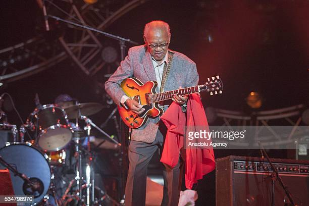 Jamaican musician and composer Ernest Ranglin performs during the 15th International Mawazine Music festival at Bouregreg concert hall in Rabat...
