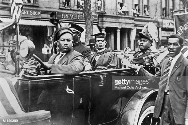 Jamaican Pan-Africanist activist, Marcus Garvey in military uniform during a Universal Negro Improvement Association parade in Harlem, New York City,...