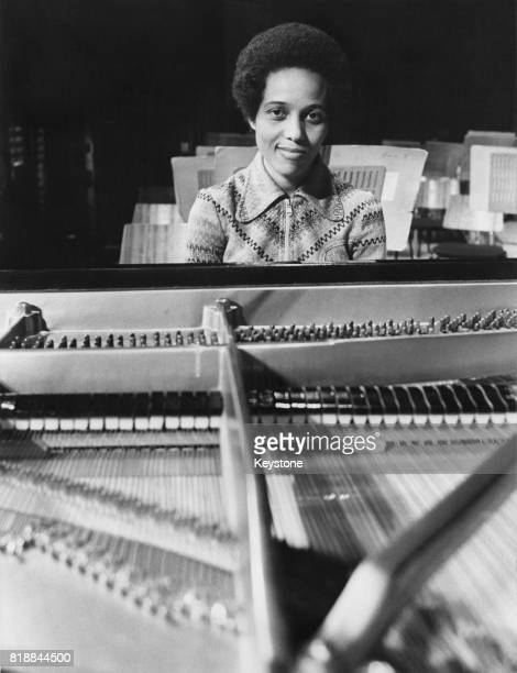 Jamaican pianist Nerine Barrett rehearses for that night's concert at the Royal Festival Hall in London 25th February 1975 She will be playing...