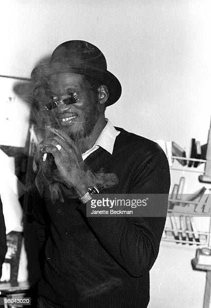 Jamaican producer and musician Niney the Observer smokes a cigarette London Englans 1979
