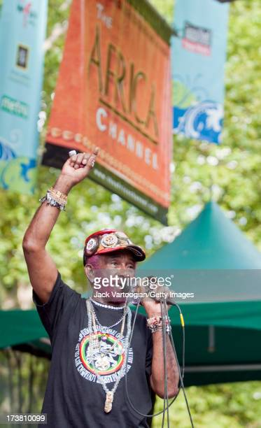 Jamaican Reggae artist Lee 'Scratch' Perry backed by the Viennese Dub band Dubblestandart performs at Central Park SummerStage New York New York July...