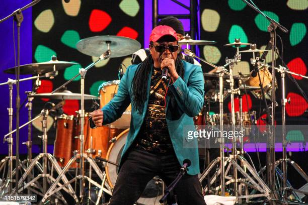 Jamaican reggae fusion musician AJ Brown of the band Third World performs during the 2019 Gnaoua music festival in Morocco's western region of...
