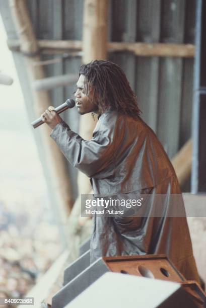 Jamaican reggae groups Black Uhuru and The Wailers perform on stage at Glastonbury Festival 21st June 1986
