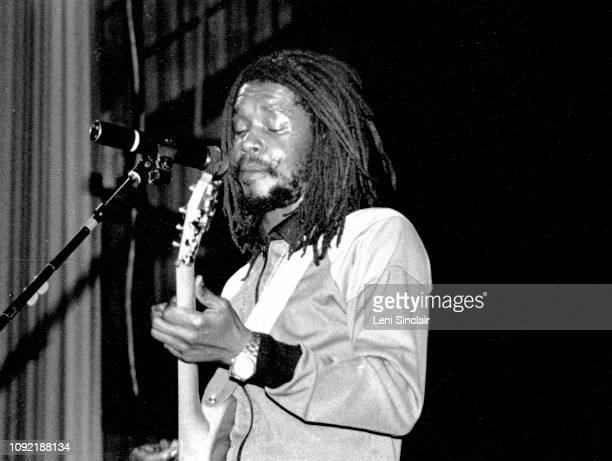 Jamaican reggae guitarist and singer Peter Tosh performs at the Royal Oak Music Theater near Detroit Michigan in 1981